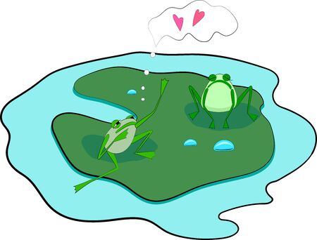 illustration of isolated cartoon two frogs on green leaf in love Stock Illustratie