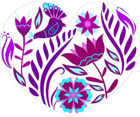 heart which consist of violet patterns on white background. Vector illustration