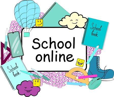 Modern colorful concept for education time with text school online