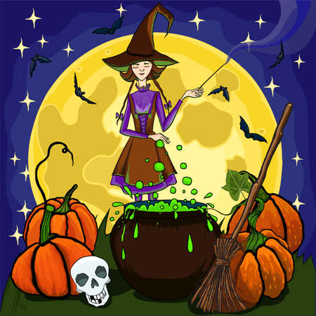 Scene with Halloween theme with full moon and a witch - vector illustration. Ilustração