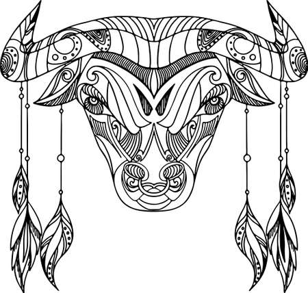 Beautiful decorative coloring bull with different ornaments.
