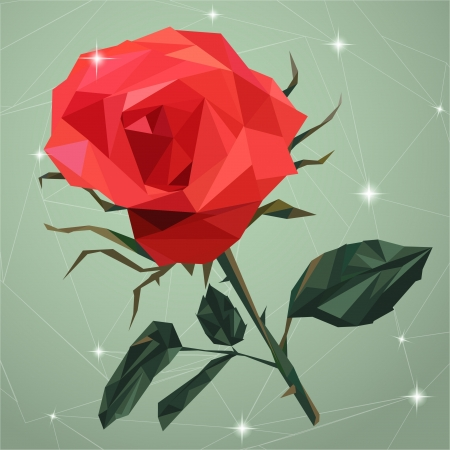black rose: Geometric vector flower made from triangles