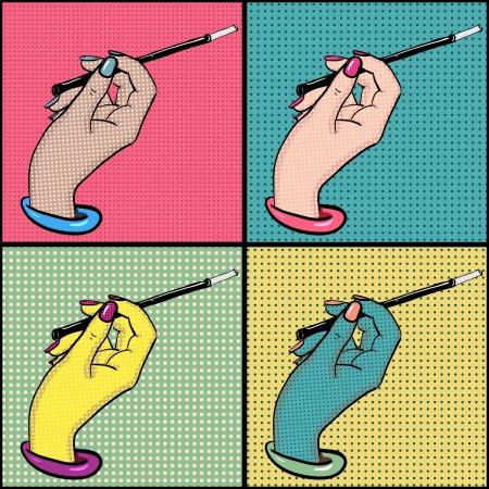 nail art: Female hand with cigarette holder pop art vector set