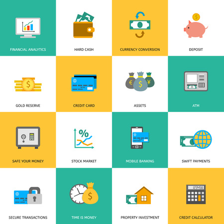 investment strategy: Set of finance and money icons in flat style. Illustration