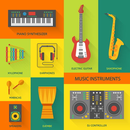 musical: Musical instruments flat vector icons.