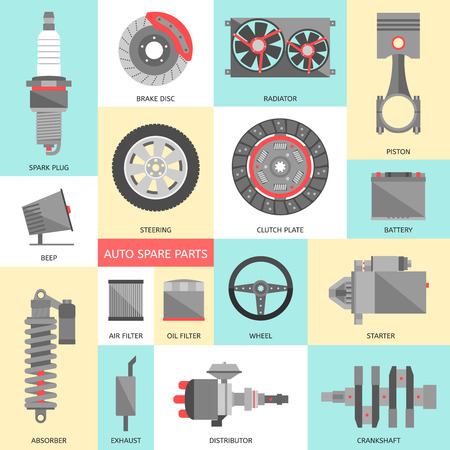 Set of auto spare parts. Car repair icons in flat style. Vector illustration EPS10. Stock Illustratie