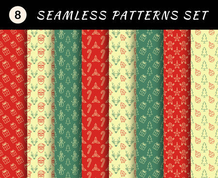 Christmas seamless patterns set. Geometric textures. Abstract backgrounds. backdrop mobile smart phone tablet desktop wallpaper banner web design element scrap booking textile