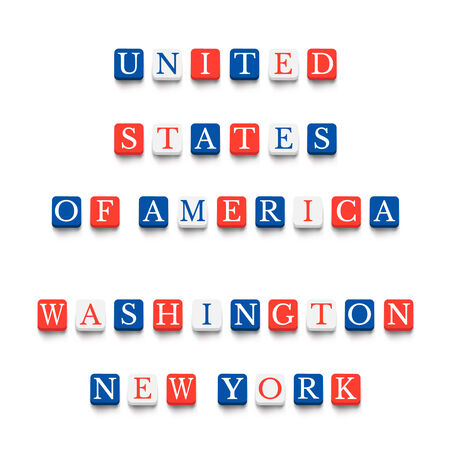 blocks: Words united states of america, washington, new york with colorful blocks isolated on a white background. Description with bright cubes. Vector illustration EPS 10. Illustration