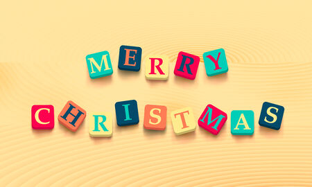 blocks: Words merry christmas with colorful blocks isolated on wooden background. Description with bright cubes. Vector illustration EPS 10.