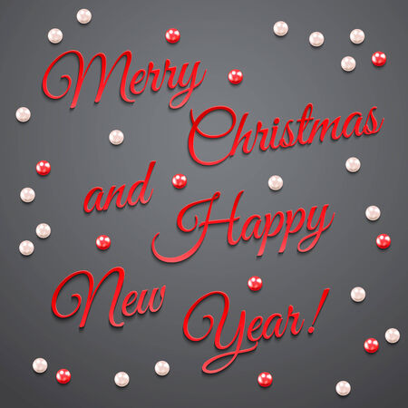 happy new year banner: Greeting card. Merry Christmas and Happy New Year background. Holiday banner. Poster with pearls.