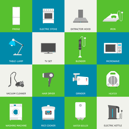 Household appliances flat icons with descriptions. Vector illustration