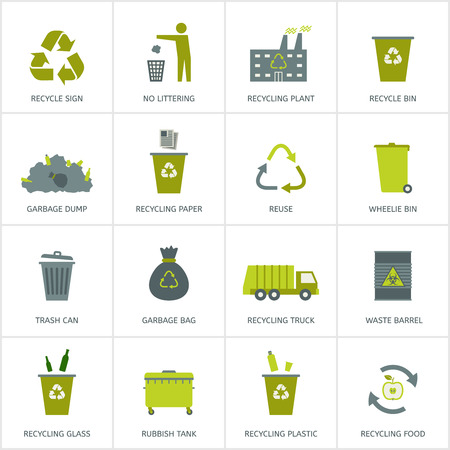Recycling garbage icons set. Waste utilization. Vector illustration. Vettoriali