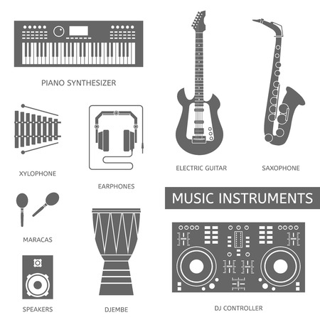 mixing console: Musical modern instruments flat vector colorful icons.