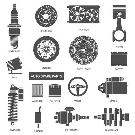 repuestos de carros: Conjunto de piezas de auto partes. Iconos de reparación de automóviles en estilo plano. Ilustración vectorial EPS10.