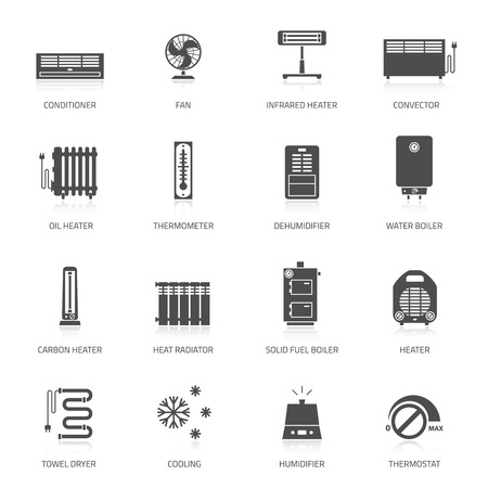 heat: Heating ventilation and conditioning vector icons set.