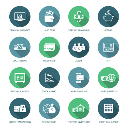 Set of finance and money icons in flat style. Ilustração