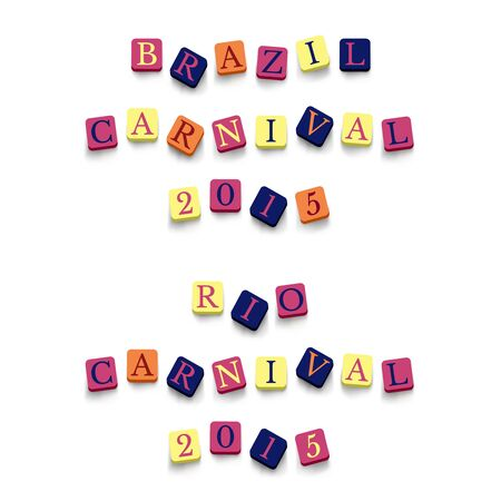 caribbean party: Words brazil rio carnival with colorful blocks isolated on a white background. Illustration