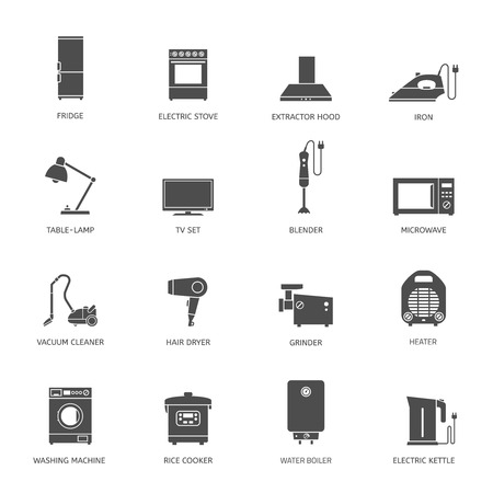 gas laundry: Household appliances flat icons with descriptions. Vector illustration