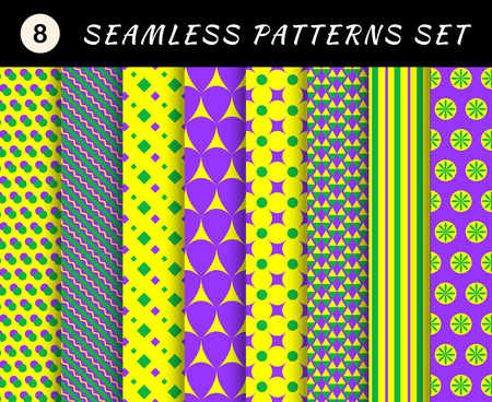 scrap booking: Mardi gras geometric seamless patterns set. Carnival backgrounds. Wallpapers for banner, poster, card, invitation, web design element, scrap booking, textile Illustration