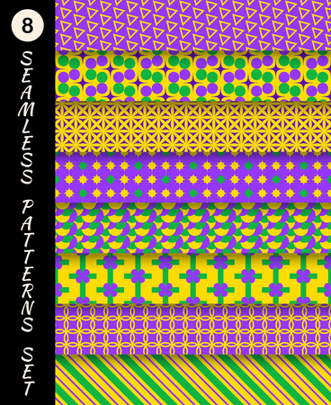 Mardi gras geometric seamless patterns set. Carnival backgrounds. Wallpapers for banner, poster, card, invitation, web design element, scrap booking, textile Vector