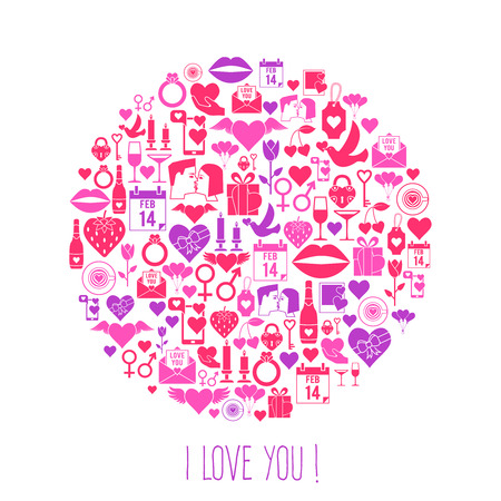 i love you sign: Valentines Day mosaic icons circle card. Love concept.