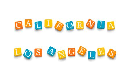 los: Words California Los Angeles with colorful blocks isolated on a white background.