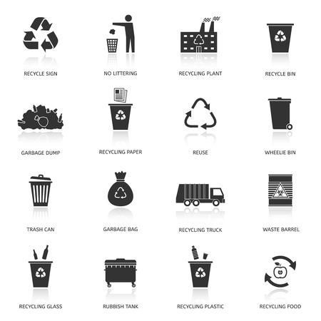 reciclar basura: Reciclaje y basura iconos conjunto. Aprovechamiento de desechos. Ilustración del vector. Vectores