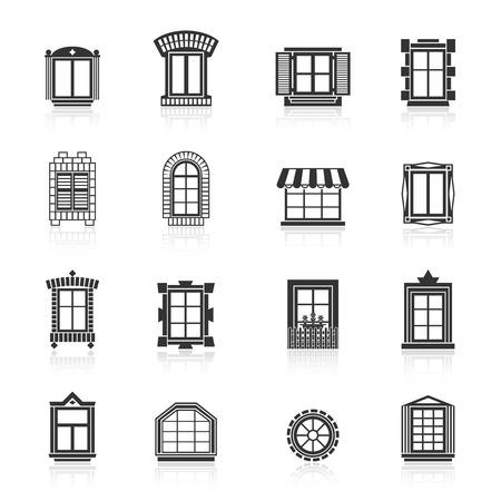 Vintage windows set. Flat exterior vector icons.