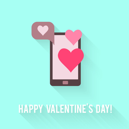 Valentines Day greeting card. Love concept in flat style. Vector illustration EPS10. Vector