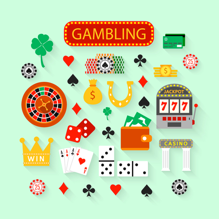 casino chip: Gambling flat icons set. Casino concept collection. Illustration