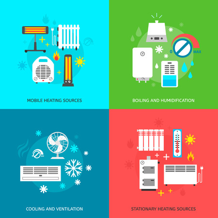Heating ventilation and conditioning flat icons set. Banco de Imagens - 37005577