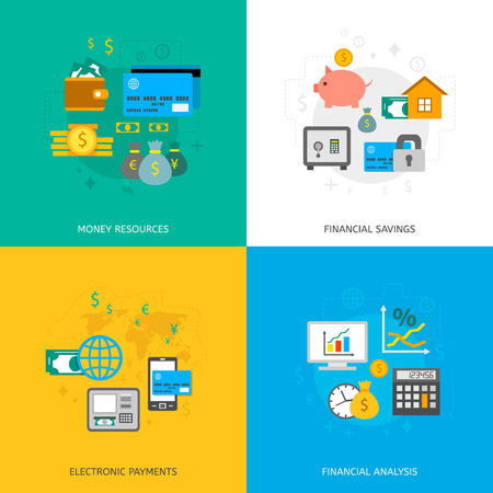 money market: Set of finance and money icons in flat style. Illustration