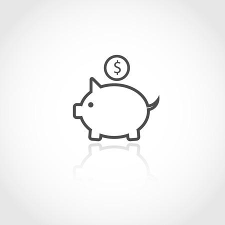Piggy bank vector icon. Financial savings concept.