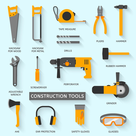 perforator: Construction tools vector icons set. Hand equipment collection in flat style. Illustration