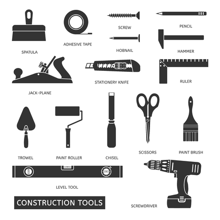 jack hammer: Construction tools vector icons set. Hand equipment collection