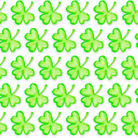 St. Patricks Day holiday seamless pattern. Clover leaf texture. Spring background. Vector
