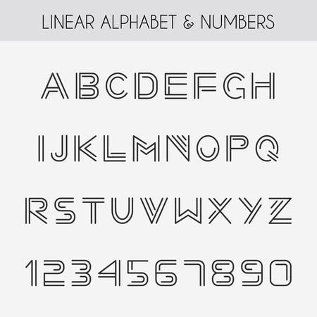 pila bautismal: Fuente lineal. Alfabeto minimalista con l�neas finas. Vectores