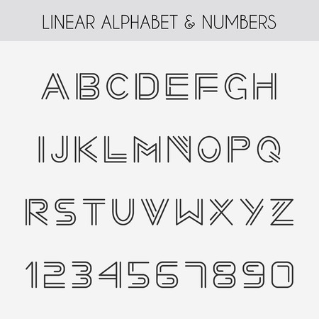 font: Linear font. Minimalistic alphabet with thin lines.