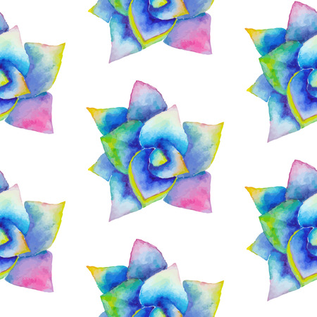 Watercolor seamless pattern with succulent. Hipster background with bright agave. Wedding design template.