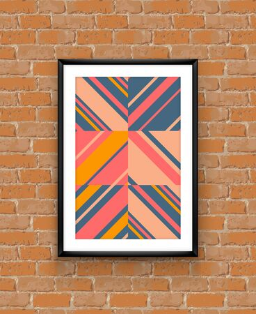 Abstract striped geometric boho chic poster frame on brick wall