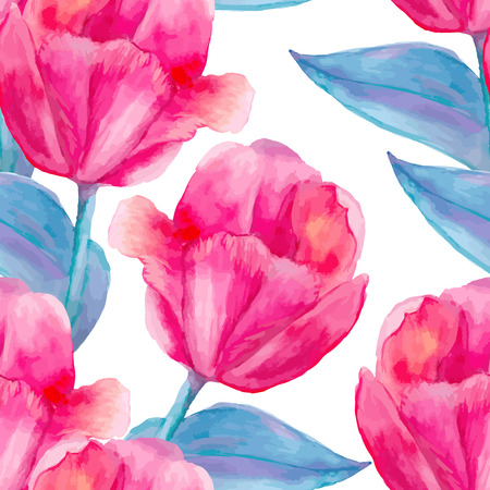 Watercolor seamless floral pattern in boho chic style.