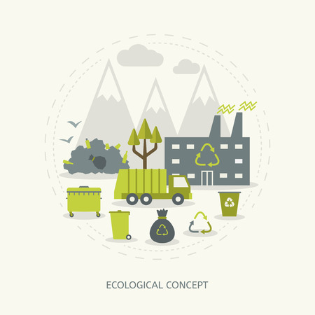 Ecologic recycling and waste utilization concept in flat style Çizim