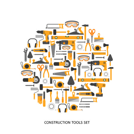 jack hammer: Construction tools vector icons set. Hand equipment collection in flat style. Illustration