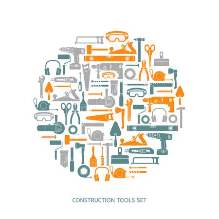 作図ツール ベクトルのアイコンを設定します。フラット スタイルの手の機器のコレクション。