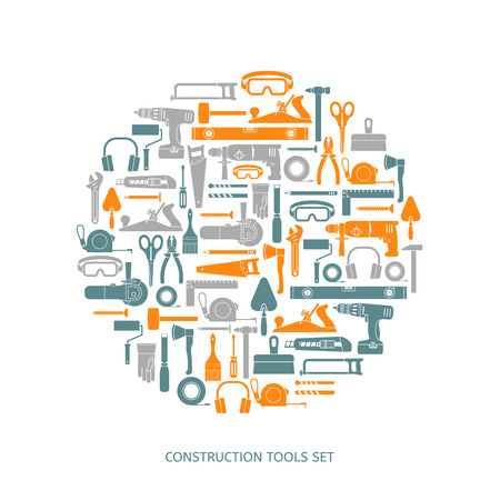Construction tools vector icons set. Hand equipment collection in flat style. Vettoriali