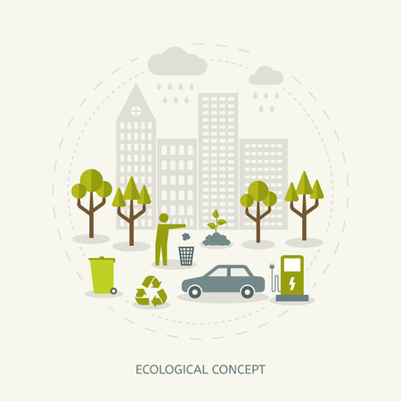 utilization: Ecologic recycling and waste utilization concept in flat style. Environmental background