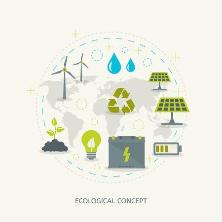 energías renovables: Reciclaje ecológico y el concepto de energía renovable en el estilo plano. Fondo ambiental Vectores