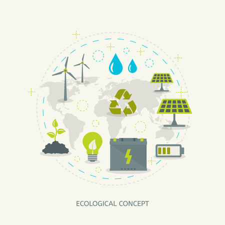 Ecologic recycling and renewable energy concept in flat style. Environmental background