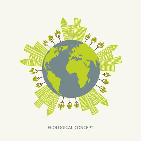 medio ambiente: Concepto de medio ambiente ecológico en estilo plana. Ilustración Planeta verde Vectores
