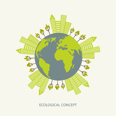 Ecologic environment concept in flat style. Green planet illustration Vector